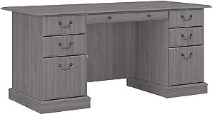 Bush Furniture Saratoga Executive Desk with Drawers, Modern Gray
