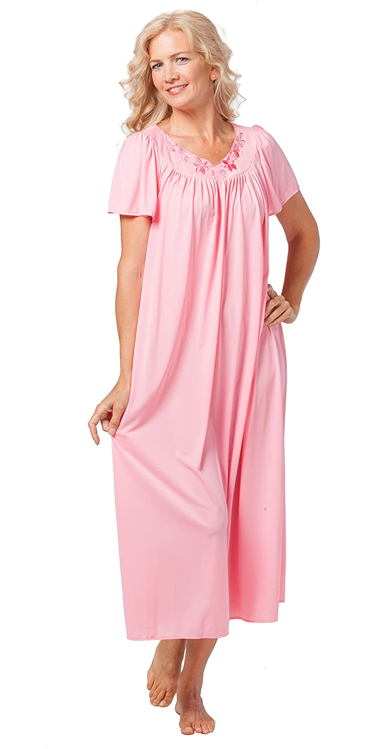 Miss Elaine Classics Flutter Sleeve Nylon Long Nightgown in Coral (Small 9943f4483