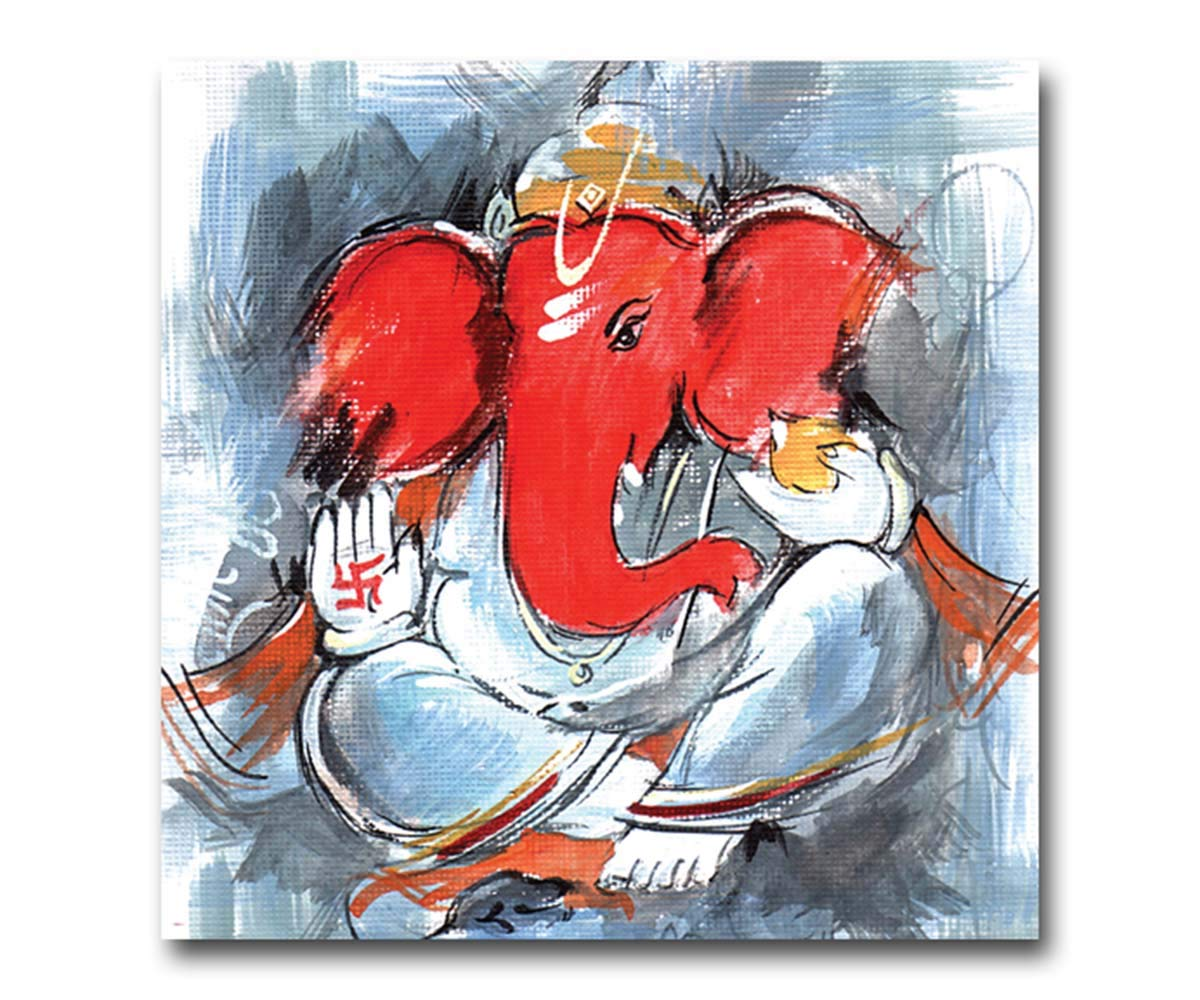 100yellow Lord Ganesha Sketch Unframed Wall Hanging Canvas Painting 12 X 12 Inch Amazon In Home Kitchen