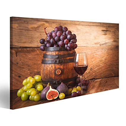 Quadro moderno Fico con vino rosso, uva e botte su legno tabel ...