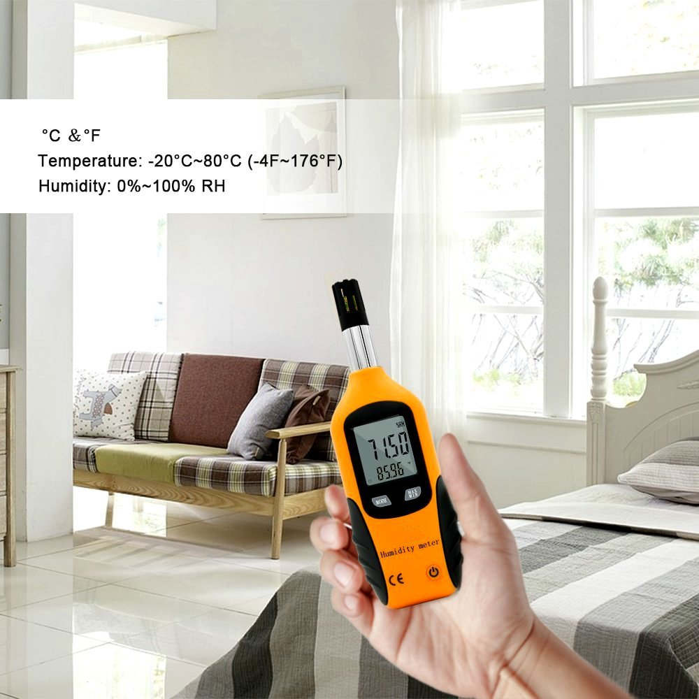 WT Meter - Digital Psychrometer and Portable Thermometer Hygrometer with LCD Monitor, Temperature Gauge and Humidity Meter, Professional Use, High Sensitive and Performance (Yellow) by WT Meter (Image #7)