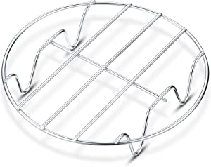 Small Roasting Rack 9.8 x 6.7 inch Oval 6 inch Round Steamer Rack Insert Stainless Steel Cooling Cooking Racks Baking Racks for Steaming Oven Air Fryer Pressure Cooker and Dishwasher (Round Style)