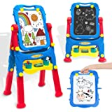 Kids Easel Toddler Toys Dry Erase Board and Chalkboard Double Sides Height Adjustable Drawing Board with Extra…