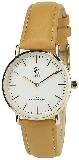 GG LUXE -Reloj Mujer Marrón Cuarzo Plata Oro caja Acero pantalla analógica Pulsera Cuero: Amazon.es: Relojes