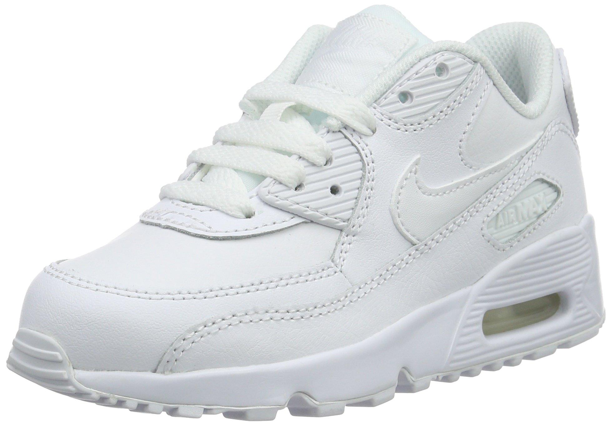 Nike Kids Air Max 90 LTR (PS) White/White Running Shoe 2 Kids US