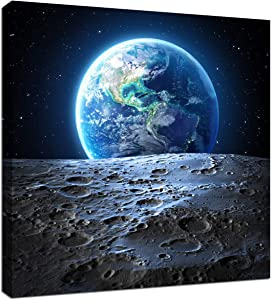 Earth Poster Canvas Wall Art - Earthrise from the Moon Outer Space Painting Home Office Universe Decor Framed Art Print Modern Pictures for Living Room Bedroom Decoration 12x12inch Ready to Hang