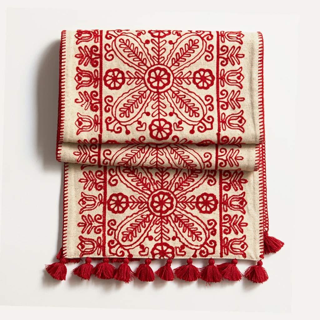 テーブルランナー素朴な木赤のテーブルランナーコットンリネンパターン洗える花の木グレー、タッセル付き、テーブルランナー、マルチタッセル付きドレッサースカーフ(サイズ:38 * 250 cm) 38*250cm  B07SMRRGDW
