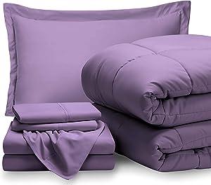 Bare Home Twin XL Sheet Set - 1800 Ultra-Soft Microfiber Bed Sheets (Twin XL, Lavender) + Comforter Set - All Season (Twin/Twin XL, Lavender)