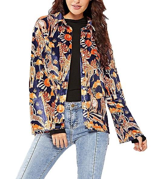 Mujer Chaqueta Primavera Otoño Animal Print Outerwear ...