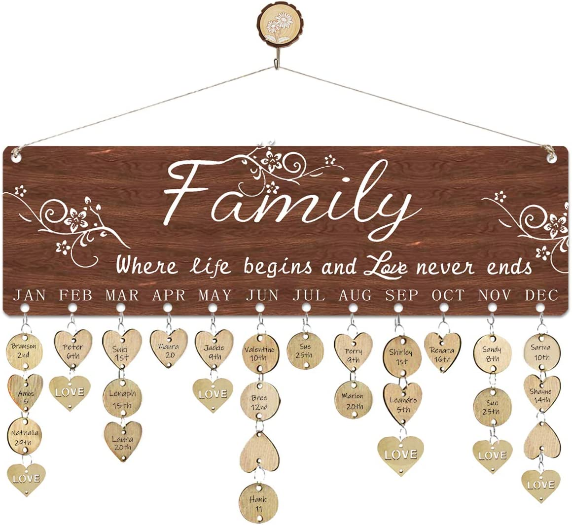 WISIEW Thanksgiving Gifts for Mom Dad Wooden Birthday Reminder Calendar Board Family Love Sayings Pattern Home Decorative Birthday Tracker Plaque Wall Hanging