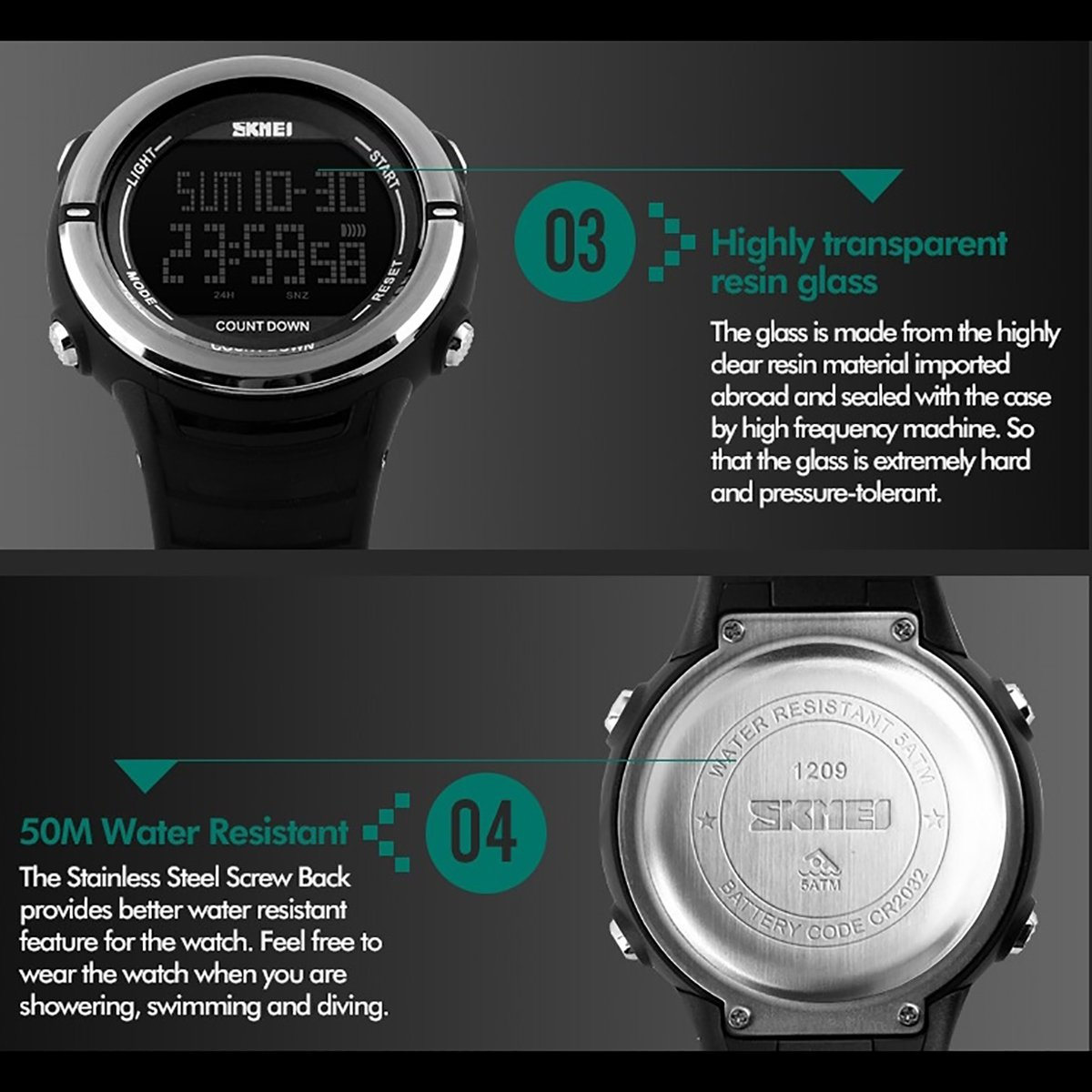modiwen Hombres Digital deportes al aire libre relojes con pantalla de tiempo Dual multifunción resistente al agua reloj