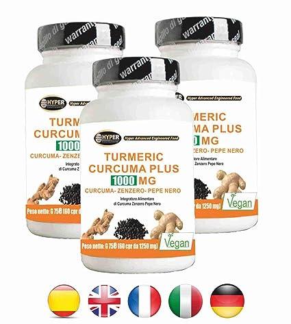 Turmeric Curcuma 1000 La curcumina + Jengibre + piperina quemador de grasa | alta dosis de ...