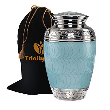 Classic Baby Blue Brass Cremation Urn – Beautifully Handcrafted Adult Funeral Urn – Solid Brass Funeral Urn – Affordable Urn for Human Ashes with Free Velvet Bag