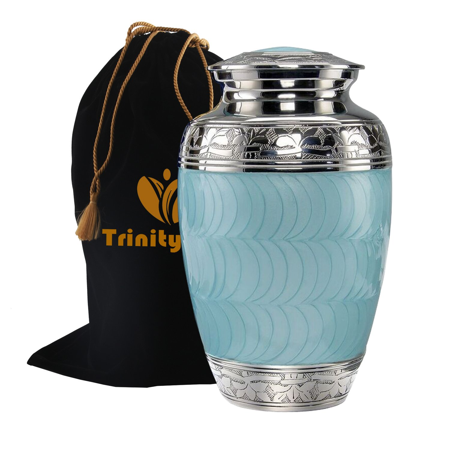 Classic Baby Blue Brass Cremation Urn - Beautifully Handcrafted Adult Funeral Urn - Solid Brass Funeral Urn - Affordable Urn for Human Ashes with Free Velvet Bag