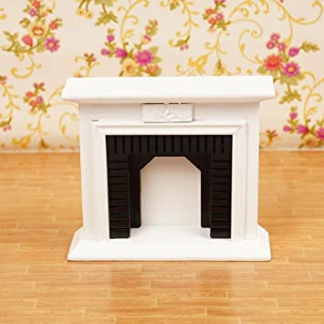 Cool Ring Doll House Decoration Accessories 1:12 Doll House Exquisite White Fireplace Gift for