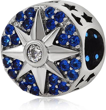 Amazon Com 925 Sterling Silver Star Charm Spacer Charm Sun Moon Charm Anniversary Charm Birthday Charm For Pandora Charms Bracelet Arts Crafts Sewing