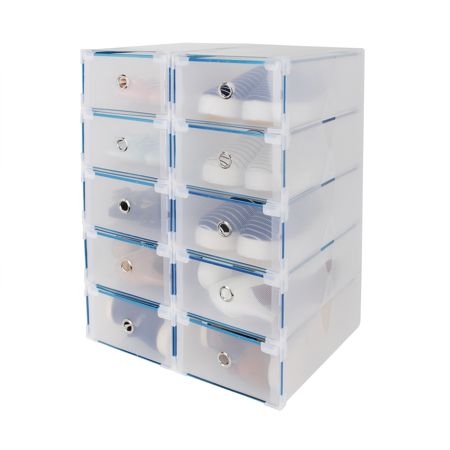 Shoe Box HST 10PCS Stackable Shoe Storage Box-Plastic Clear Design-Sturdy and  sc 1 st  Amazon UK & Acelectronic 10 Pieces Clear Plastic Shoe Storage Boxes Stackable ...