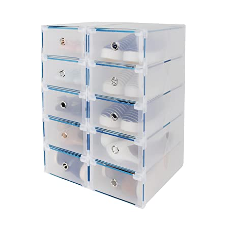 Genial Shoe Box, HST 10PCS Stackable Shoe Storage Box Plastic Clear Design Sturdy  And