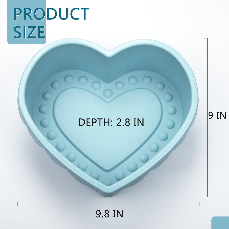 Heart Shape Silicone Baking Mold Nonstick Cake Pan 9 Inch Baking Pan Big for Cake Bread Pie Flan Tart DIY - FDA & BPA Free (9.8''x9''x2.8'') - Blue by DOSHH (Image #2)