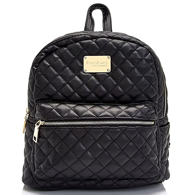 c549b09c5889 Bebe Womens Large Maria Quilted Faux Leather Backpack Black Handbag Tote   Amazon.ca  Clothing   Accessories
