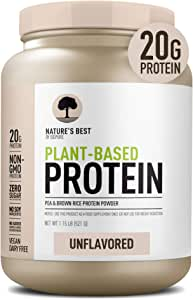 Nature's Best Plant Based Vegan Protein Powder by Isopure - Organic Keto Friendly, Low Carb, Gluten Free, 20g Protein, 0g Sugar, Unflavored, 20 Servings
