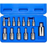 "Neiko 10074A Hex Bit Socket Set, Metric, 2mm to 14mm | 13-Piece Set, S2 and Cr-V Steel, 1/4"", 3/8"" and 1/2-Inch Drive"