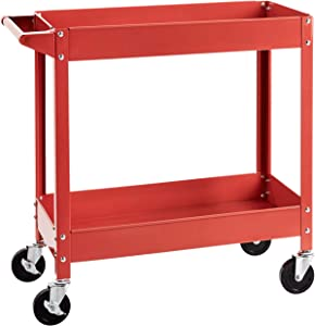 AmazonBasics Steel 2-Shelf Multipurpose Tub Utility/Supply Cart with 400-Pound capacity - Red