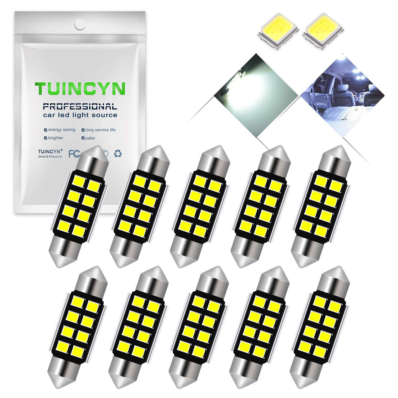 TUINCYN Extremely Bright 39MM Canbus Error Free Festoon LED Bulb 6000K Xenon White 5630-12SMD DE3175 DE3021 DE3022 6428 7065 Car Interior Door Map Dome LED Lights 12V Pack of 10