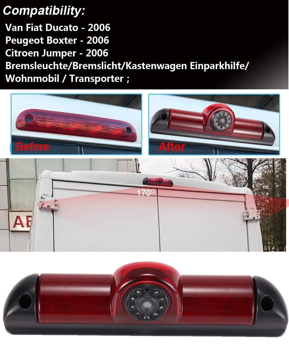 c/ámara + 4.3  Espejo Retrovisor Auto Transporter Nocturna IR Luz Freno C/ámara de Marcha Atr/ás Visi/ón Trasera Coche Puede Ajustar el /ángulo para FIAT Ducato X250// Peugeot Boxter//Citroen Jumper