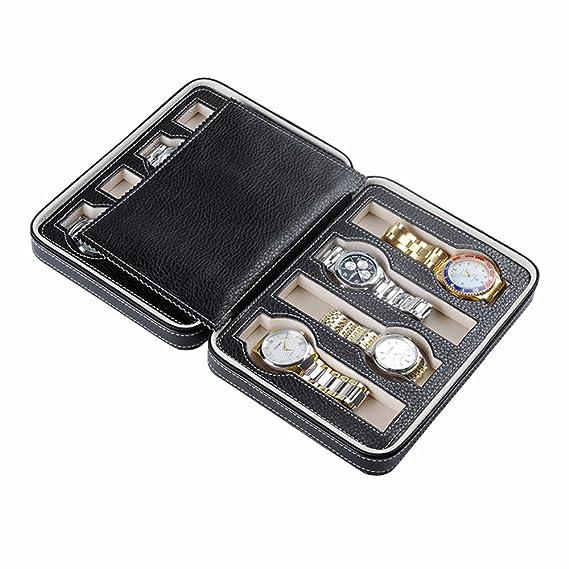 perfectii Reloj estuche para 8 relojes, relojes Caja de reloj caja reloj de pulsera Pantalla Caja De Cuero Pu: Amazon.es: Relojes