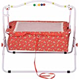 Jubilant Lifestyle Compact Baby Cradle Swing / Indian Ghodiyu with Mosquito Net (Red)