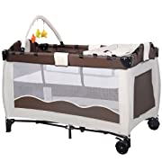BABY JOY Baby Crib Foldable Playpen Portable Playard Pack Travel Infant Bassinet Bed with 2 Lockable Wheels Diaper Changing Table and Baby Toys (Coffee)