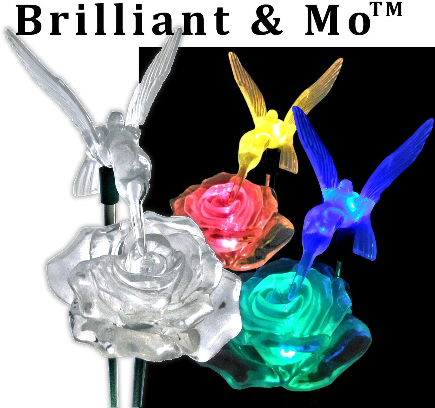 BRILLIANT AND MO Brilliant & Mo Stunning 2 Solar Rose Lights with 2 Solar Hummingbird Lights Garden Stakes For Home Patio Deck Lawn Yard Decor