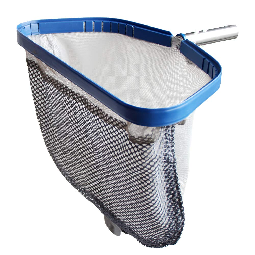 POOLWHALE Pool Leaf Rake with Double Layer Deep-Bag, Professional Skimmer Heavy Duty Mesh Net, Commercial Size(Plastic Tab at The Bottom for Assisting When You Empty The Net)