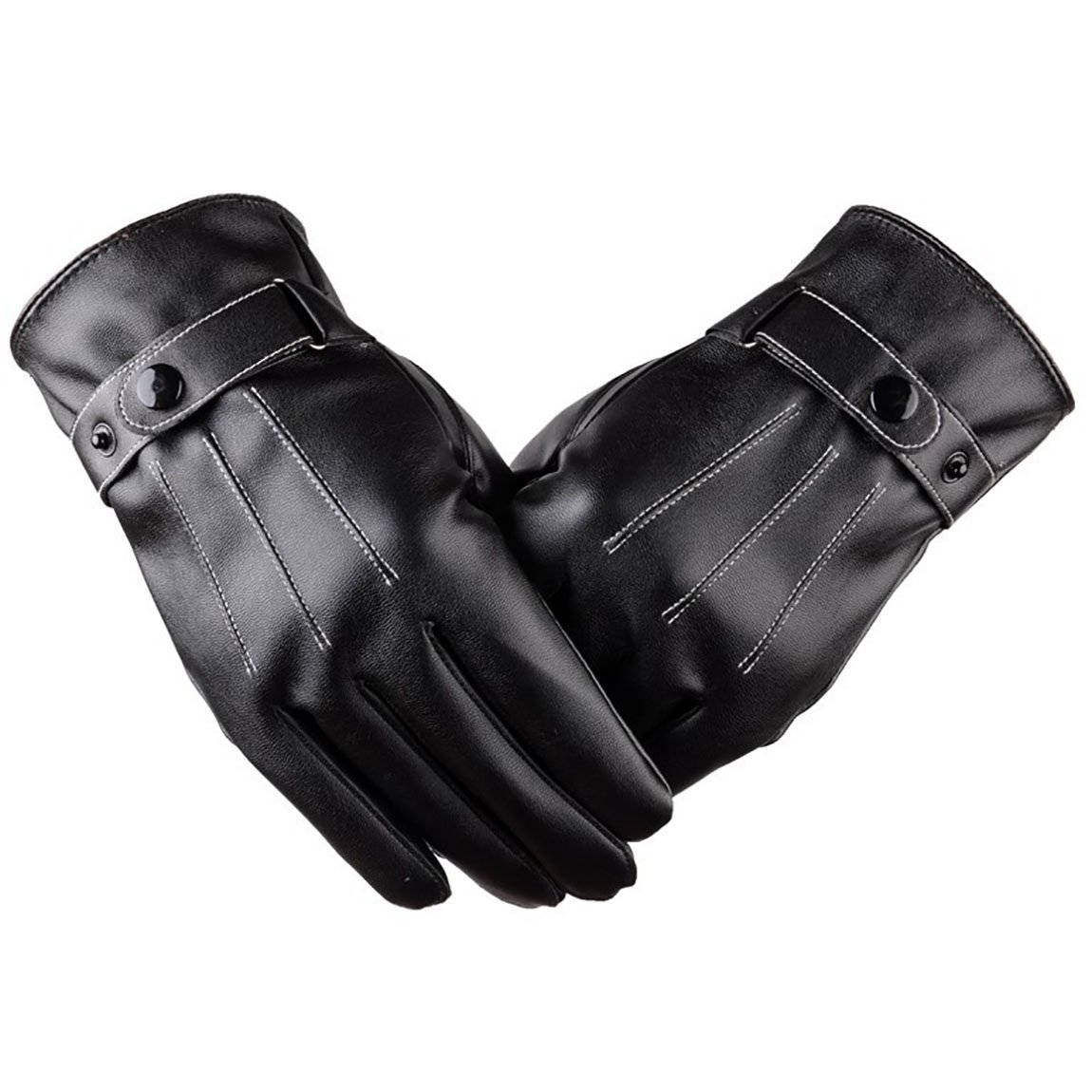 Alleza Guanti Uomo Invernali in Pelle PU Touch Sreen Guanti Felpa Fodera Caldi da Moto Bici Outdoor ST18949-01-N/Al