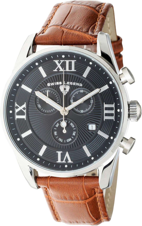 Swiss Legend Belleza 22011-01-BR - Reloj analógico de Cuarzo Suizo para Hombre, Esfera Negra y Caja de Acero Inoxidable Plateada con Correa de Piel marrón