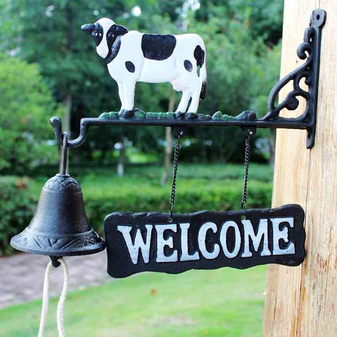 GLJJQMY Iron Cow doorbell European Wind Chime Hand Rattle Front Indoor Gift Vintage cast Iron 29x10x26cm etro doorbell