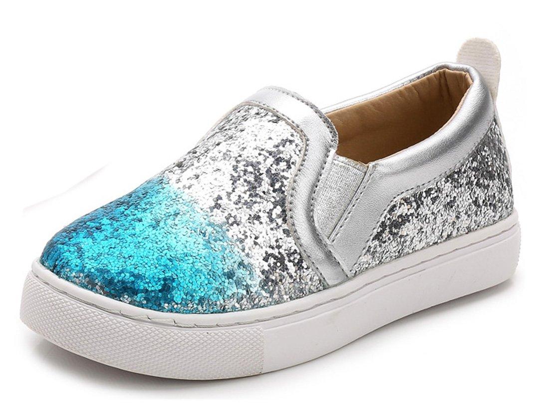 iDuoDuo Girls Glitter Sequins Princess Loafers Slip On Metallic Leather Sneakers Little Kid//Big Kid