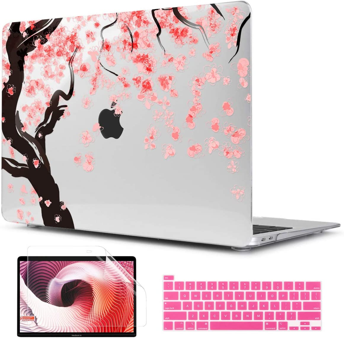 TwoL Cover for MacBook Pro 13 inch 2020, Cherry Blossoms Printed Hard Shell Case and Keyboard Skin Screen Protector for New MacBook Pro 13 A2251 A2289 Release 2020