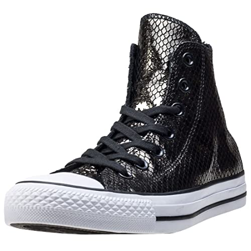 8a5ed77291d Converse Womens Chuck Taylor All Star Metallic Scaled Hi Tops Black White  Leather Trainers 6 US
