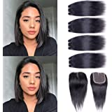 Peruvian Straight Human Hair Bundles with Closure (8/8/8/8+8 Inch,50g/pc) 100% Unprocessed 10A Straight Virgin Human Hair 4 B