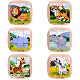 6 in 1 Wooden Block Puzzle Animal Cube Puzzle for 2 3 4+ Years Boy Girl Educational Toys Montessori Toys for Toddlers Jigsaw Puzzle with Puzzle Tray