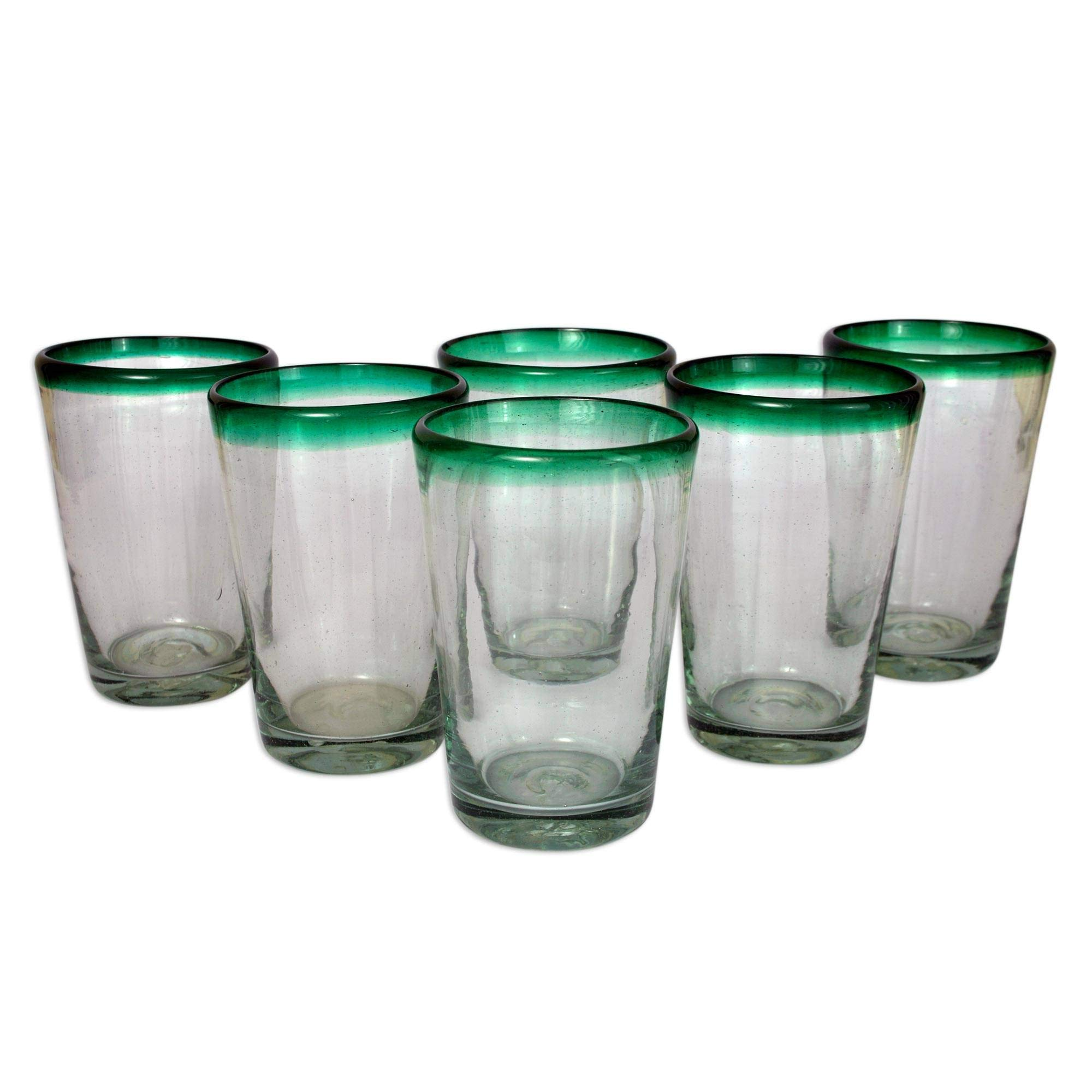 NOVICA Artisan Crafted Clear Green Glass Recycled Glasses, 15 oz 'Conical' (set of 6)