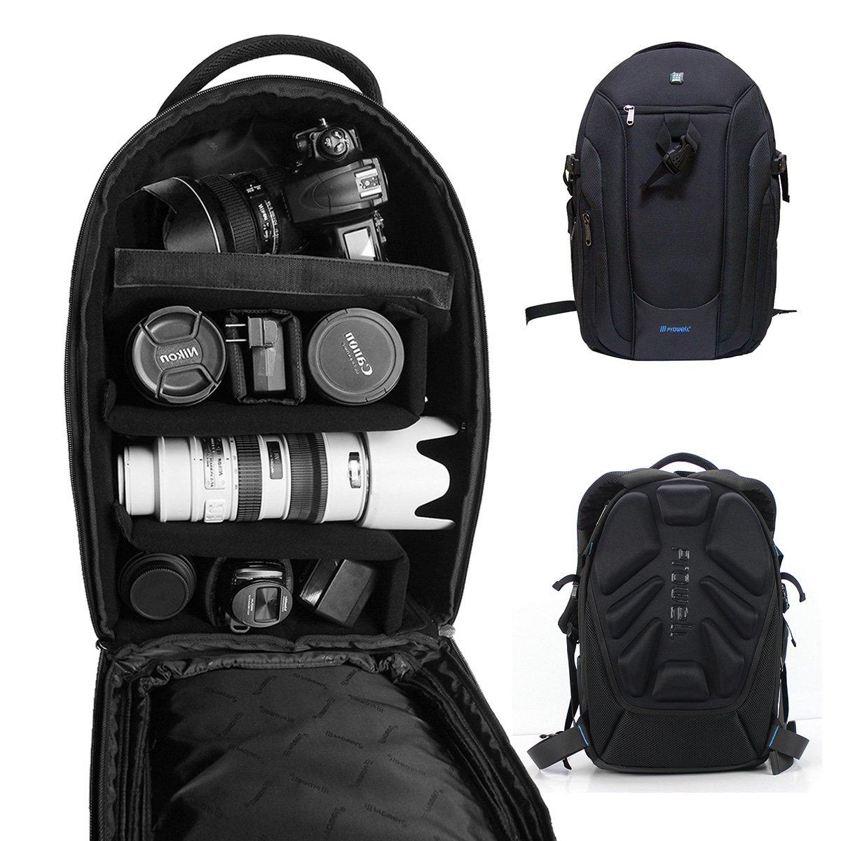 DSLRカメラバックパックガジェットバッグwithディバイダー、Prowell防水旅行アウトドアバックパックforカメラ、レンズ、17