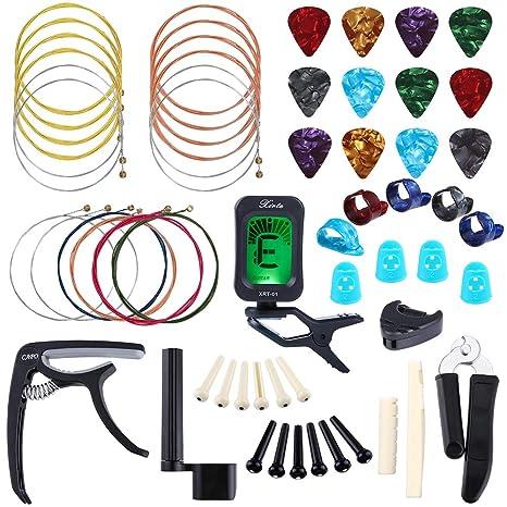 Auihiay - Juego de 58 piezas de accesorios para guitarra acústica, juego de herramientas para cambiar cuerdas ...