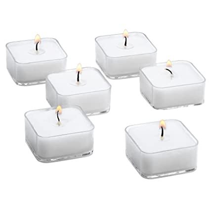 355e7507c1 Amazon.com: White Square Tealight Candles with Clear Cup - Bulk Set of 72  Unscented Tea Lights - 5 Hour Burn Time: Home & Kitchen