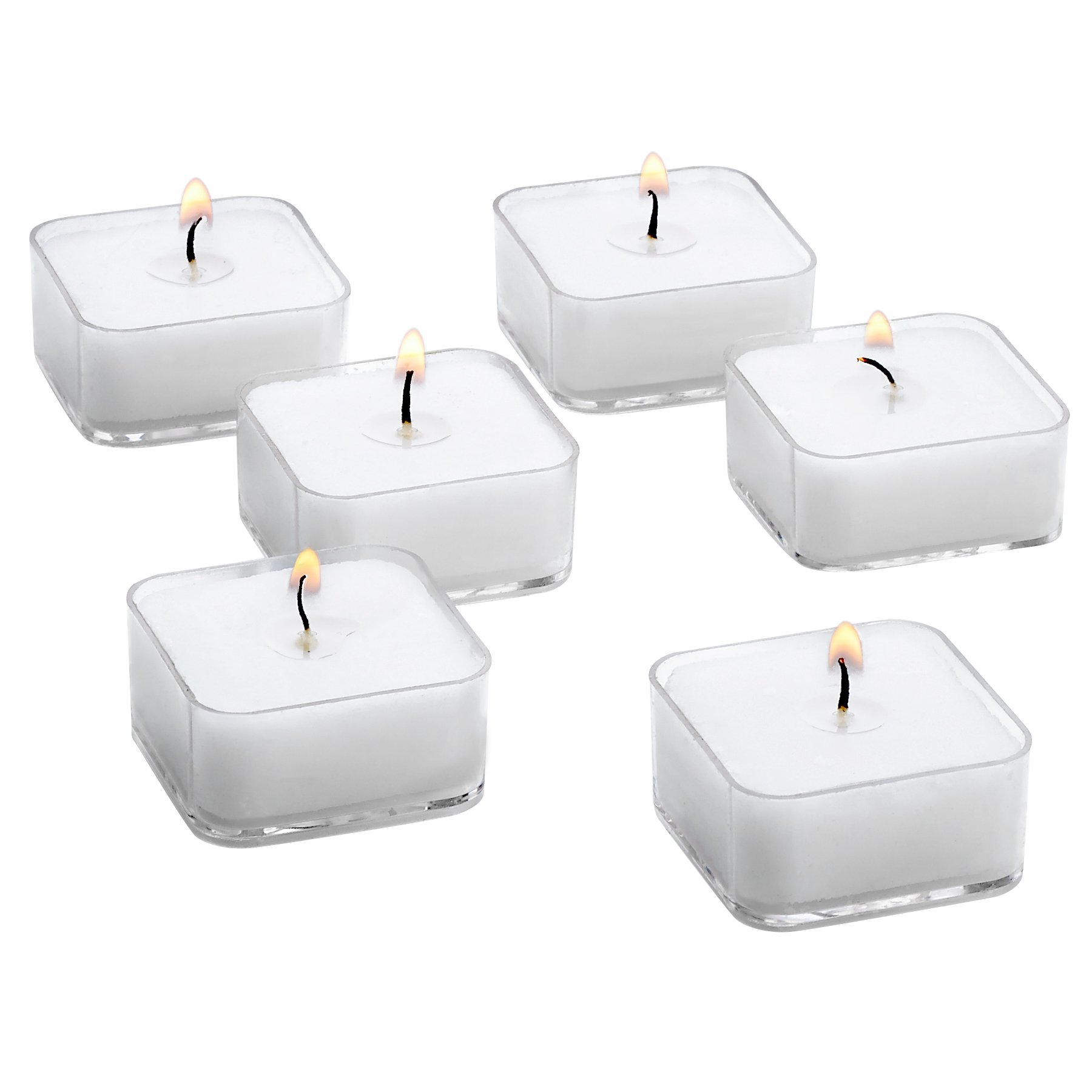 White Square Tealight Candles with Clear Cup - Bulk Set of 72 Unscented Tea Lights - 5 Hour Burn Time