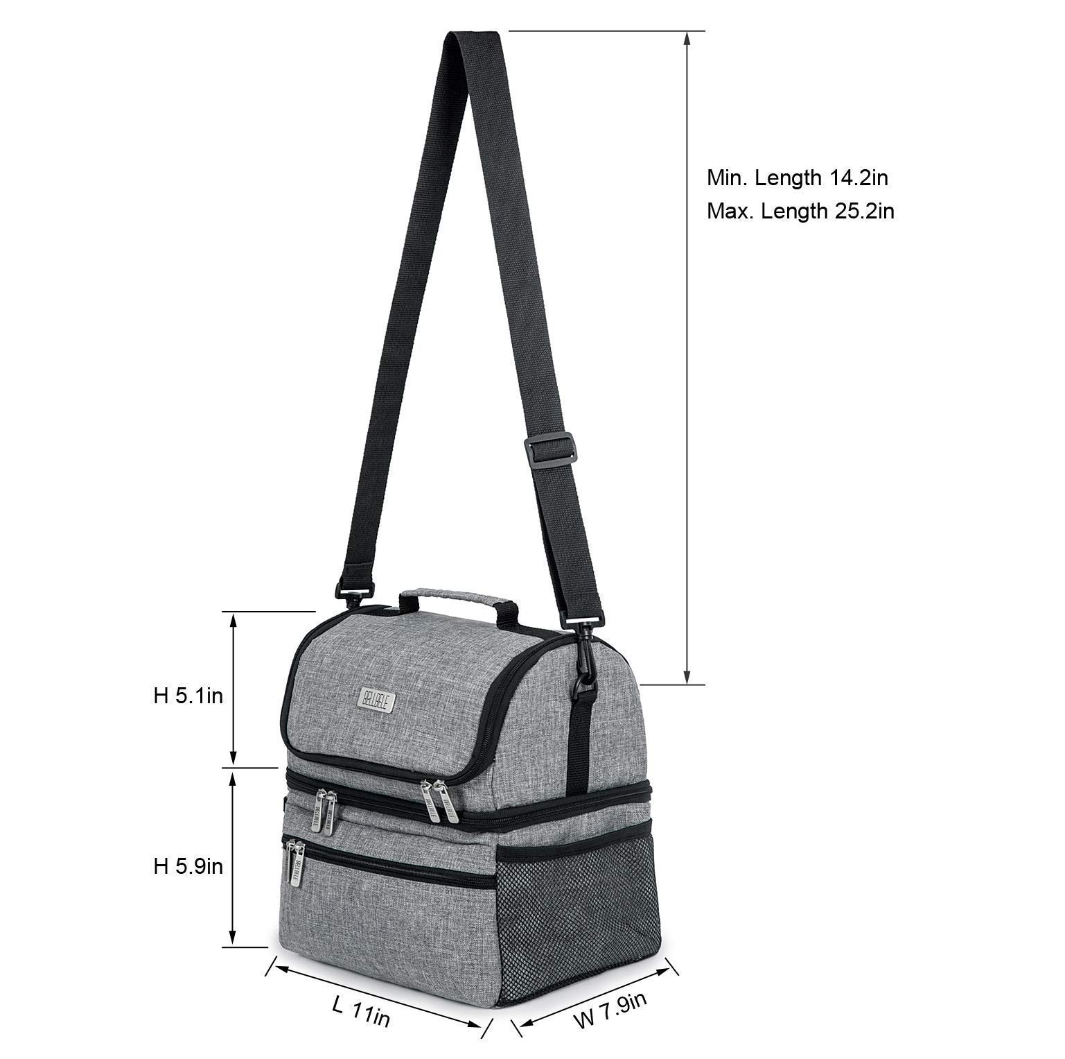 BELLBELE Large Insulated Lunch Bag for Women Lunch Box for Men 15L High Capacity Lunchbox for Family Adult Double Deck Cooler Toe Bag for Office School Picnic Travel or Camping (Gray)