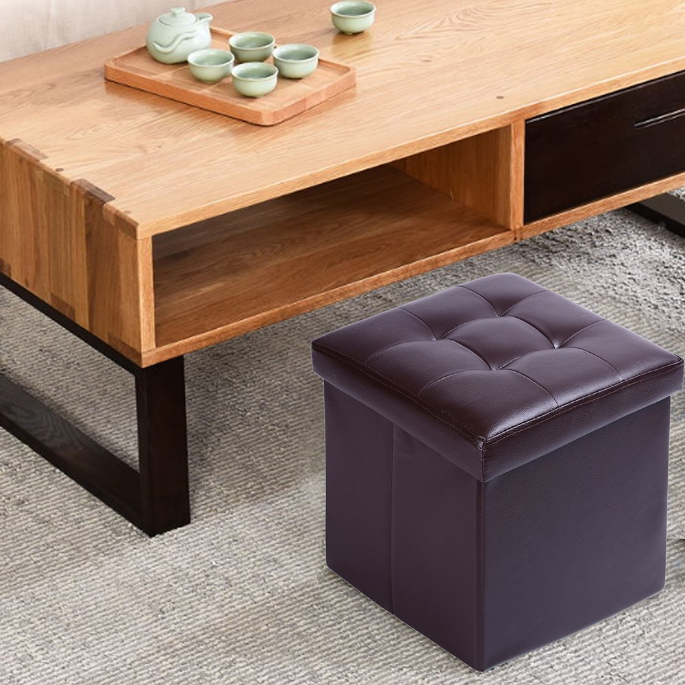 15'' Storage Ottoman Folding Stool,Collapsible Cube Faux Leather Coffee Table,Foot Rest Seat,Clutter Toys Collection Brown by epeanhome (Image #4)