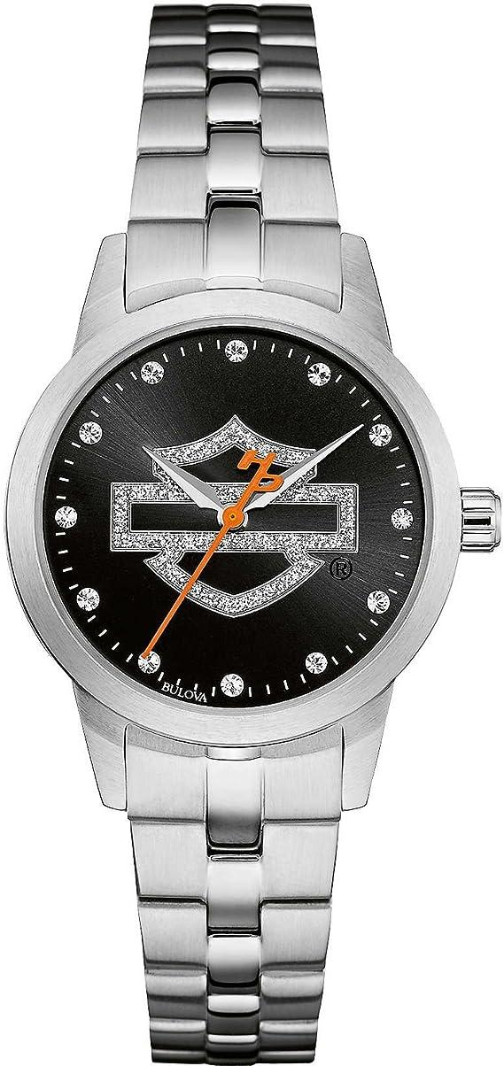 Harley Davidson Pulsera de Acero Inoxidable con Logo Negro y dial de Acero Inoxidable 76L182
